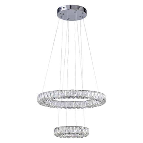 Design Living Chrome Two-Tier LED Crystal Rings Pendant