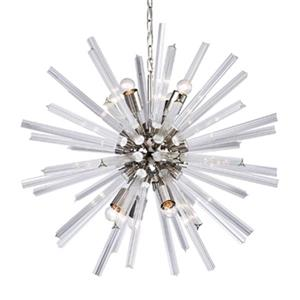 Bethel International 8-Light Chrome Glass Spike Pendant