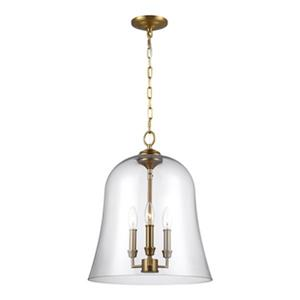 Feiss Lawler 3-Light Burnished Brass Bell Pendant.