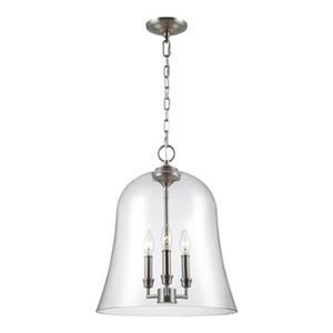 Feiss Lawler 3-Light Satin Nickel Bell Pendant