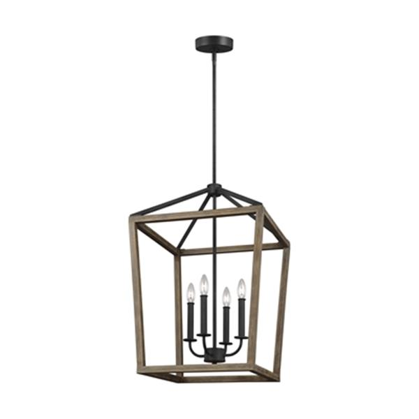 Feiss Gannet 4-Light Weathered Oak Wood/Antique Forged Iron Pendant