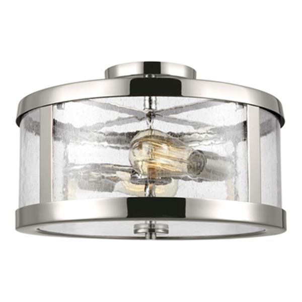 Feiss Harrow 10.12-in x 15-in Polished Nickel 2-Light Semi-Flush Mount Light