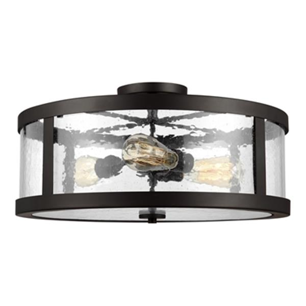 Feiss Harrow 10.12-in x 19.62-in Oil Rubbed Bronze 3-Light Semi-Flush Mount Light