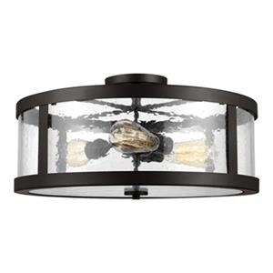 Feiss Harrow 10.12-in x 19.62-in Oil Rubbed Bronze 3-Light Semi-Flush Mount Light.