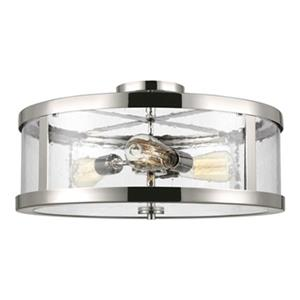 Feiss Harrow 10.12-in x 19.62-in Polished Nickel 3-Light Semi-Flush Mount Light.