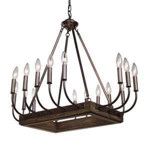 Artcraft Lighting Aberdeen Brunito Bronze/Light Wood 16-Light Chandelier