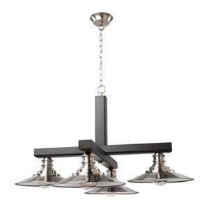 Artcraft Lighting Ambrose Brushed Nickel/Dark Wood 4-Light Chandelier