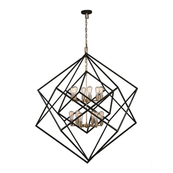 Artcraft Lighting Artistry Matte Black/Satin Brass 12-Light Chandelier