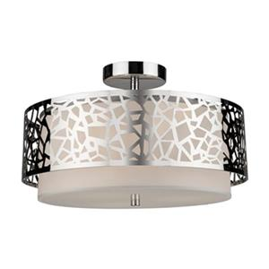 Artcraft Lighting Bayview 9.5-in x 16-in Chrome 3-Light Flush Mount Ceiling Light