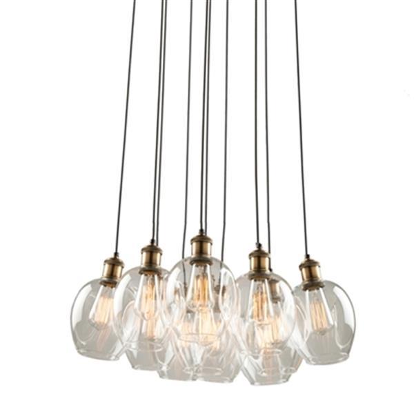 Artcraft Lighting Clearwater 11-Light Vintage Brass Ceiling Pendant