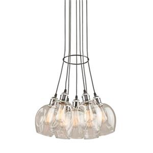 Artcraft Lighting Clearwater 7-Light Polished Nickel Ceiling Pendant