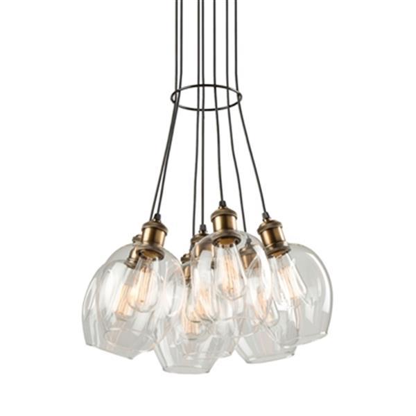 Artcraft Lighting Clearwater 7-Light Vintage Brass Ceiling Pendant