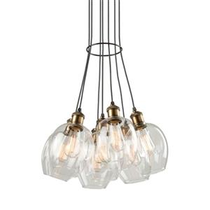 Artcraft Lighting Clearwater 7-Light Vintage Brass Ceiling Pendant