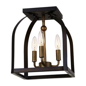 Artcraft Lighting Worthington 12-in x 10-in Bronze and Gold 3-Light Flush Mount Light