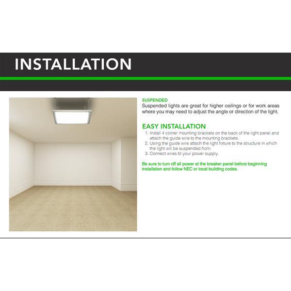 Inti Lighting Corp 2x2 True Flush Mount/T-Grid Multi-Volt LED Flat Light Panel