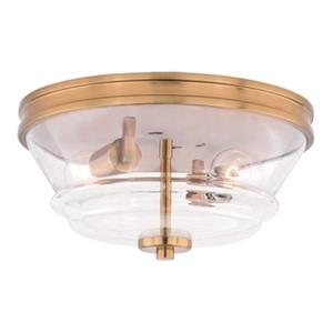 Cascadia Toledo 2-Light Brass Industrial Flush Mount Ceiling Light