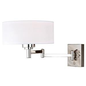Cascadia Chapeau Slim Instalux Plug-In Nickel Motion Sensor Swing Arm Wall Lamp
