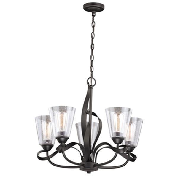 Cascadia Cinta 5-Light Bronze Chandelier Clear Glass