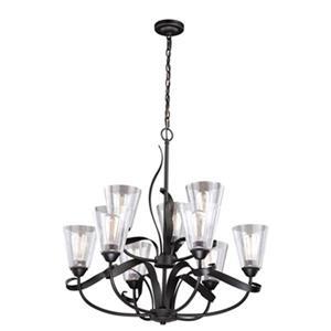 Cascadia Cinta 9-Light 2-Tier Bronze Chandelier Clear Glass