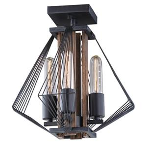 Cascadia Lighting Dearborn 12.5-in x 13-in Black Iron And Oak 4-Light Semi-Flush Mount Ceiling Light
