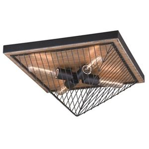 Cascadia Lighting Dearborn 8.25-in x 16-in Black Iron And Oak 4-Light Flush Mount Ceiling Light