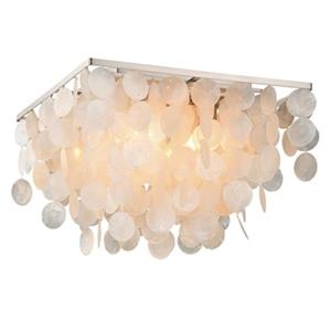 Cascadia Elsa 16-in Nickel Capiz Shell Flush Mount Ceiling Light