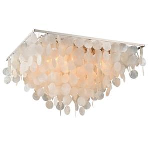 Cascadia Elsa 24-in Nickel Capiz Shell Flush Mount Ceiling Light