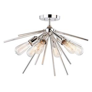 Cascadia Estelle 6-Light Nickel Mid-Century Modern Sputnik Ceiling Light
