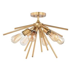 Cascadia Lighting Estelle 14.5-in x 24-in Natural Brass 6-Light Semi-Flush Mount Ceiling Light