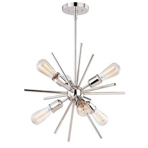 Cascadia Estelle 6-Light Nickel Mid-Century Modern Sputnik Pendant Light