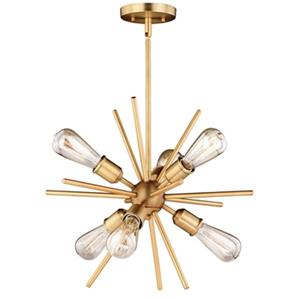 Cascadia Estelle 6-Light Brass Mid-Century Modern Sputnik Pendant Light