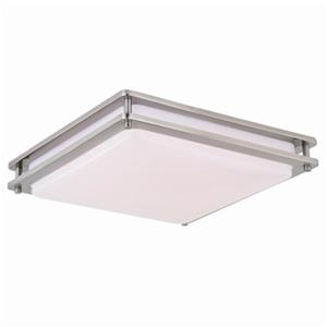 Cascadia Horizon LED 16-in Nickel Flush Mount Ceiling Light