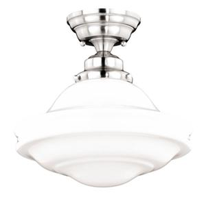 Cascadia Huntley 12-in Nickel Farmhouse Semi Flush Ceiling Light