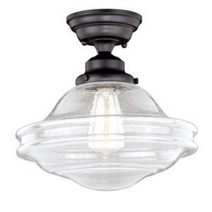 Cascadia Huntley 12-in Bronze Barn Semi Flush Ceiling Light