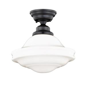 Cascadia Huntley 12-in Bronze Barn Semi Flush Ceiling Light