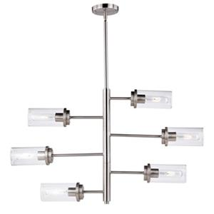 Cascadia Kimball 6-Light 3-Tier Nickel Adjustable Chandelier
