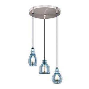 Cascadia Mille 3-Light Bronze Farmhouse Blue Jar Pendant Ceiling Light