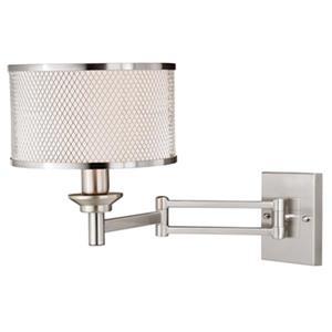 Cascadia Polk Instalux Plug-In Nickel Swing Arm Wall Lamp Gray Drum Shade