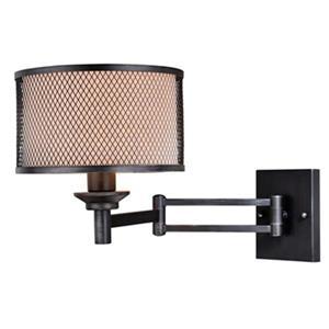 Cascadia Polk Instalux Plug-In Black Motion Sensor Swing Arm Wall Lamp