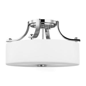 Feiss Sunset Drive 7.75-in Chrome 2-Light Semi-Flush Ceiling Light.