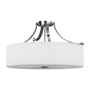 Feiss Sunset Drive 13.25-in x 22-in Chrome 4-Light Semi-Flush Mount Light.