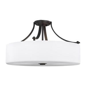 Feiss Sunset Drive 13.25-in x 22-in Oil Rubbed Bronze 4-Light Semi-Flush Mount Light.