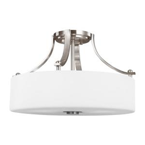 Feiss Sunset Drive 10.38-in x 16-in Brushed Steel 3-Light Semi-Flush Mount Light.