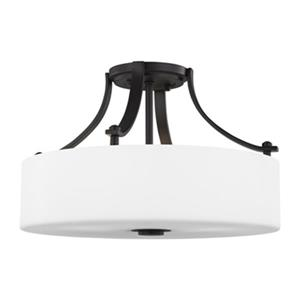Feiss Sunset Drive 10.38-in x 16-in Oil Rubbed Bronze 3-Light Semi-Flush Mount Light.
