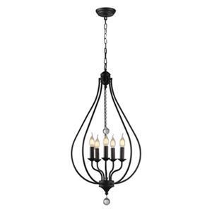 Warehouse of Tiffany Amriana 5-Light 18-In Black Cage Pendant