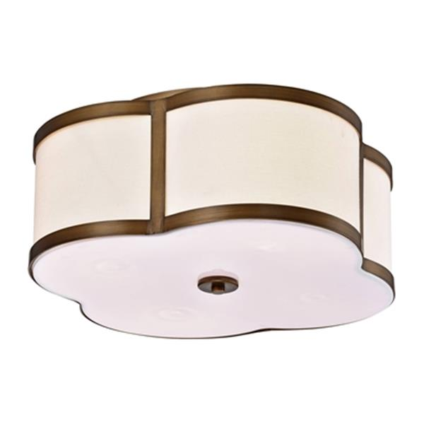 Warehouse of Tiffany Necan Clover 8.7-in x 19.7-in Antique Brass 4-Light Flush Mount Ceiling Light