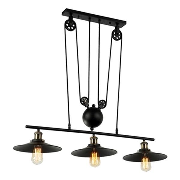 Luminaire suspendu Chorne à 3 lumières avec poulies, noir