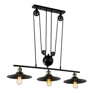 Chorne 3-Light Pulley Adjustable Chandelier - Black