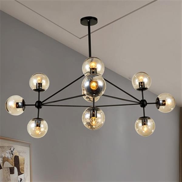 Warehouse of Tiffany Enthen 10-Light Orb Chandelier - Metal - Black