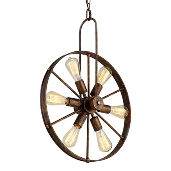 Warehouse Of Tiffany Saralin Rustic Wagon Wheel Chandelier 6 Light Copper Cy Dd 315 Rona